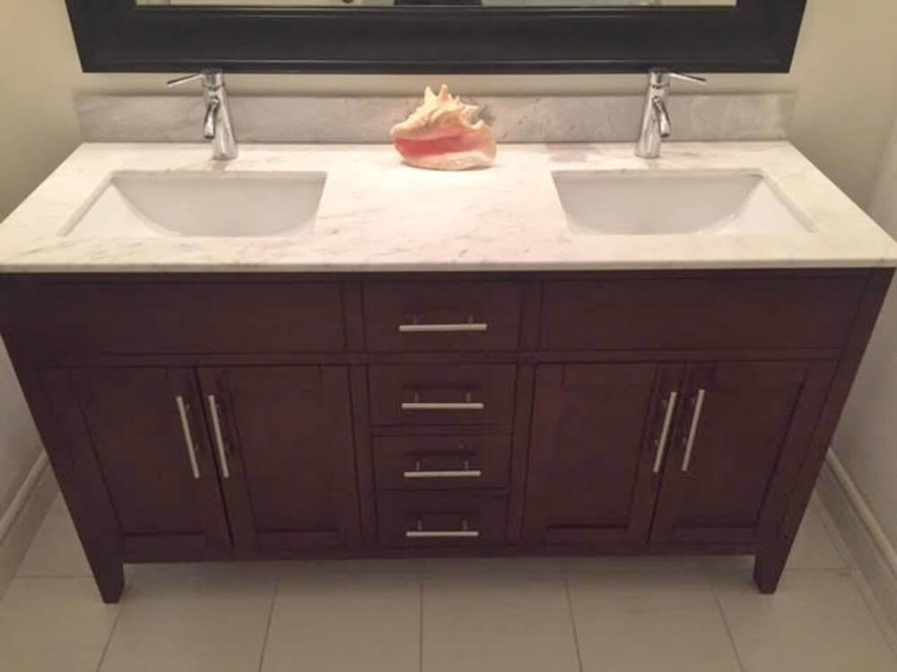 Double marble vanity top